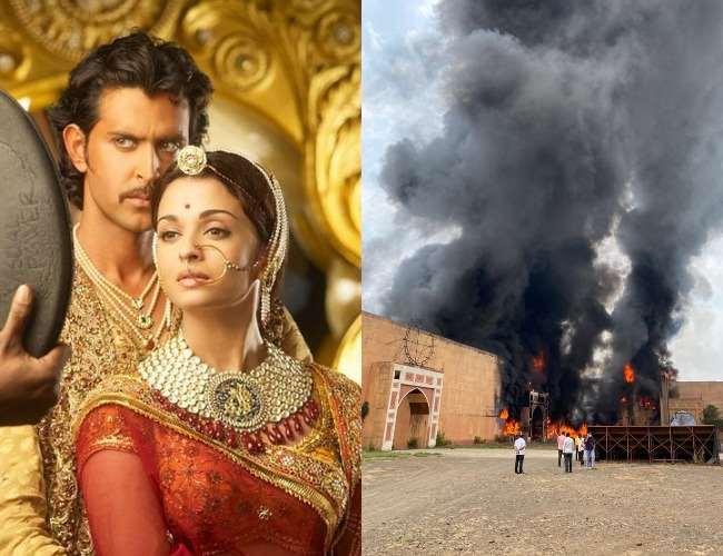 Hrithik Roshan and Aishwarya Rai and Fire at Set. Photo- Sunita Gowarikar, Jagran