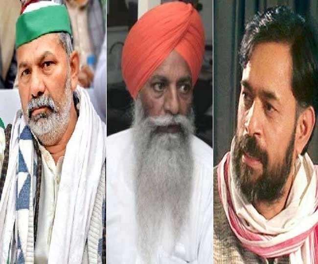 किसान नेता राकेश टिकैत, गुरनाम सिंह चढ़ूनी और योगेंद्र यादव। (फाइल फोटो)