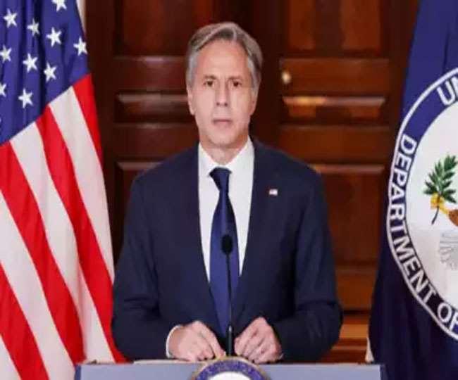 कतर में पत्रकार वार्ता में अमेरिकी विदेश मंत्री एंटनी ब्लिंकन