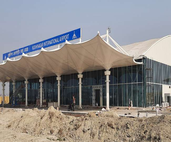 Construction of countrys first concrete free terminal building completed Kushinagar  airport building built with German fabrication technology
