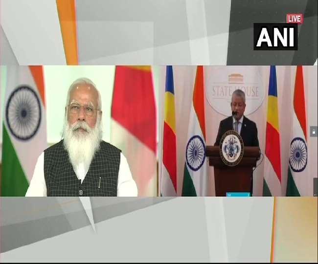 प्रधानमंत्री नरेंद्र मोदी और भारतीय मूल के सेशेल्स के राष्ट्रपति वेवल रामकलावन