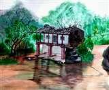 कैनवास पर पहाड़ की पीड़ दिखाकर उत्तराखंडियों से घरों की ओर लौटने की अपील कर रहे विवेक