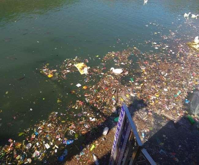 Image result for polluted nainital lake