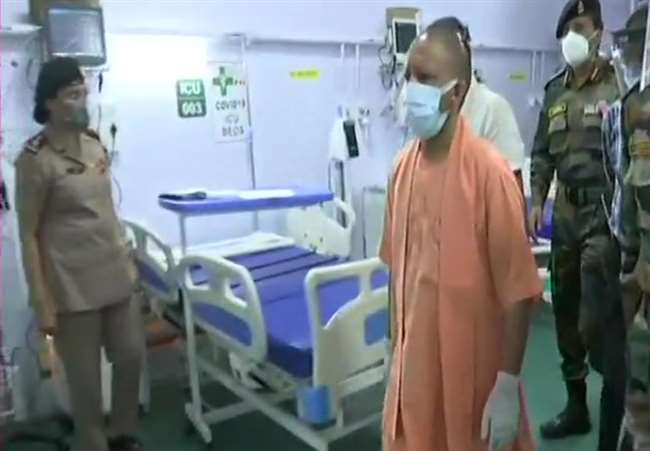 CM Yogi Yogi adityanath inspects temporary Covid Hospital at BHU services  to be available from tomorrow