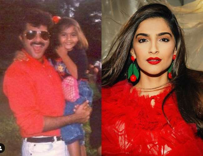 Anil Kapoor with Sonam Kapoor in old pic. Photo- Instagram