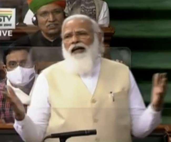 लोकसभा में प्रधानमंत्री नरेंद्र मोदी ने दिल्ली की सीमा पर चल रहे आंदोलन पर भी बोला।