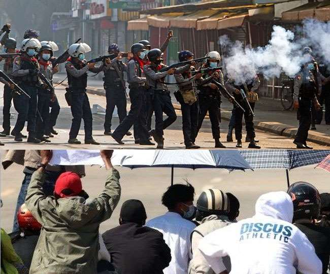 म्यांमार में कुछ पुलिसकर्मियों ने अपने अधिकारियों का आदेश मानने से किया इनकार