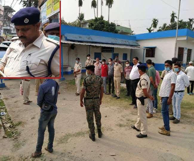 पश्चिम बंगाल के इस्लामपुर अस्पताल में बिहार और बंगाल के पुलिस अधिकारी। इनसेट में शहीद इंस्पेक्टर की फाइल फोटो