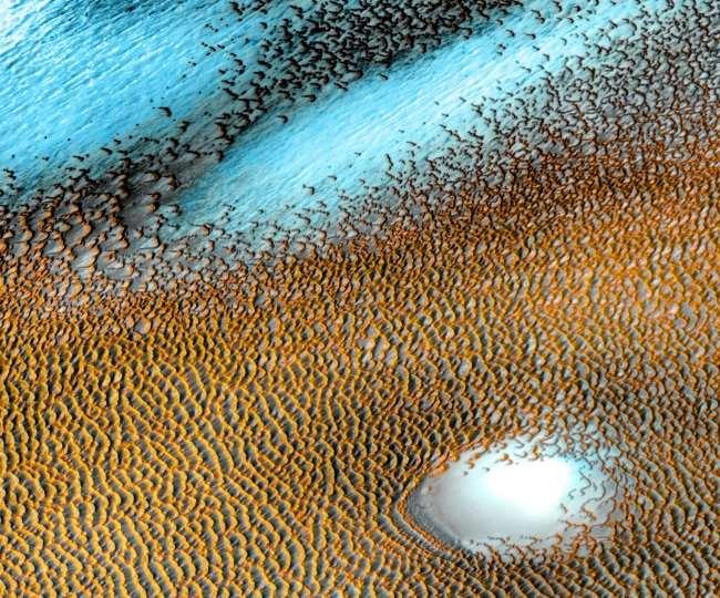 अमेरिकी अंतरिक्ष एजेंसी नासा ने मंगल ग्रह की एक तस्वीर जारी की। फाइल फोटो।