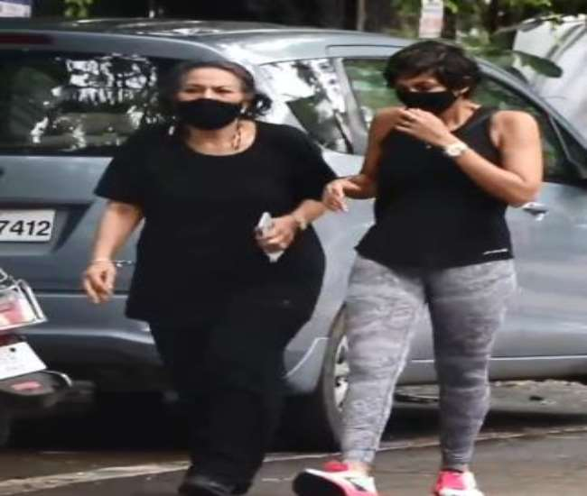 Mandira Bedi was spotted outside house with her mother first time after death of husband Raj Kaushal.