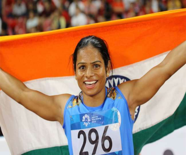 Athletic star ंand Ace sprinter Dutee chand Win gold medal with new  national record