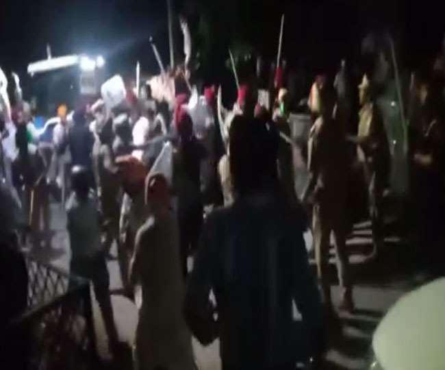 भाजपा नेताओं को बंधक बनाने के बाद पुलिस और प्रदर्शनकारी किसानों में टकराव हो गया। जागरण
