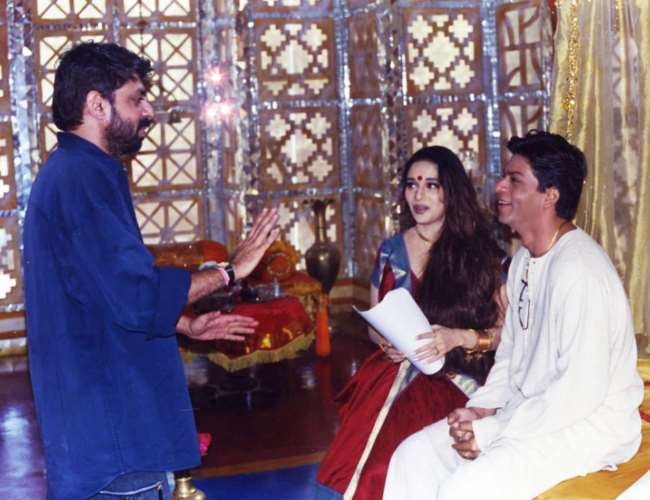 Bhansali with SRK and Madhuri. Photo- Twitter/SRK