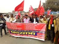 माले कार्यकर्ताओं ने निकाली पदयात्रा, प्रशासन ने रोका