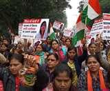 Crime against women: प्रदर्शनकारियों का आरोप पुलिस ने लोगों को दौड़ा-दौड़ाकर पीटा