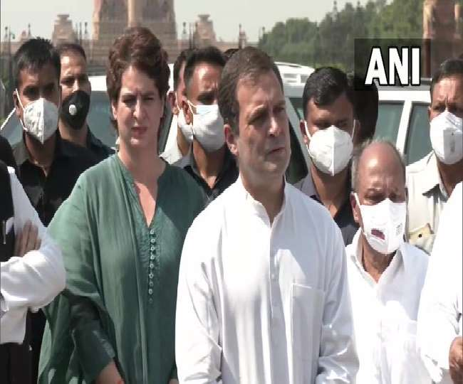 लखीमपुर हिंसा मामले पर राष्ट्रपति कोविन्द से मिला कांग्रेस का प्रतिनिधिमंडल (फोटो: ANI)