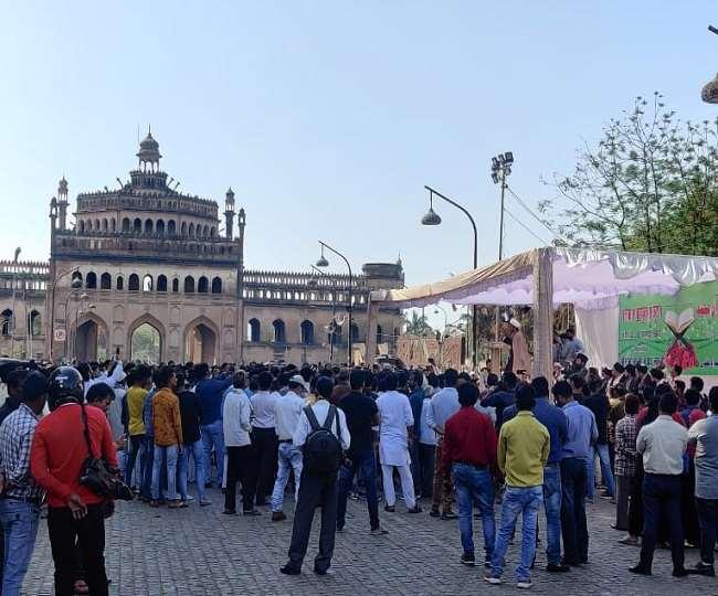 Protest Against Shia Waqf Board Former Chairman Wasim Rizvi at Bara  Imambara Lucknow
