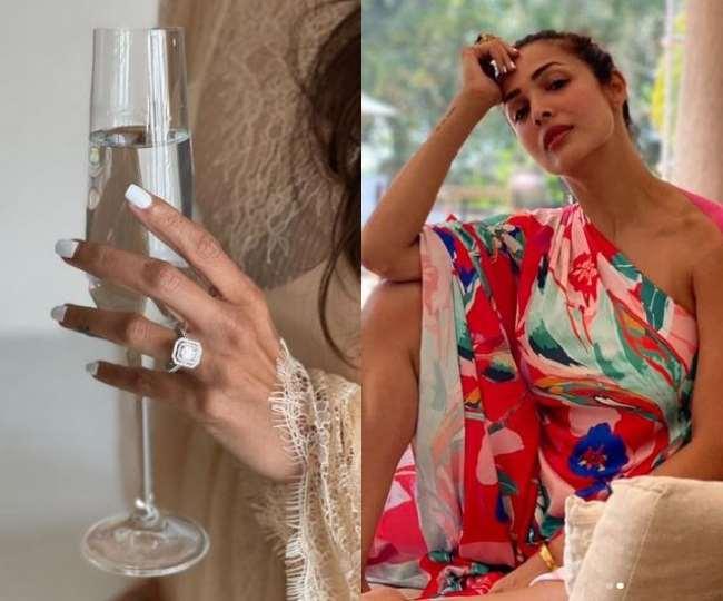 Malaika Arora Flaunts Her Beautiful Diamond Ring Fans Congratulate Her To  Taking Arjun Kapoor Name Photos Goes Viral On Social Media