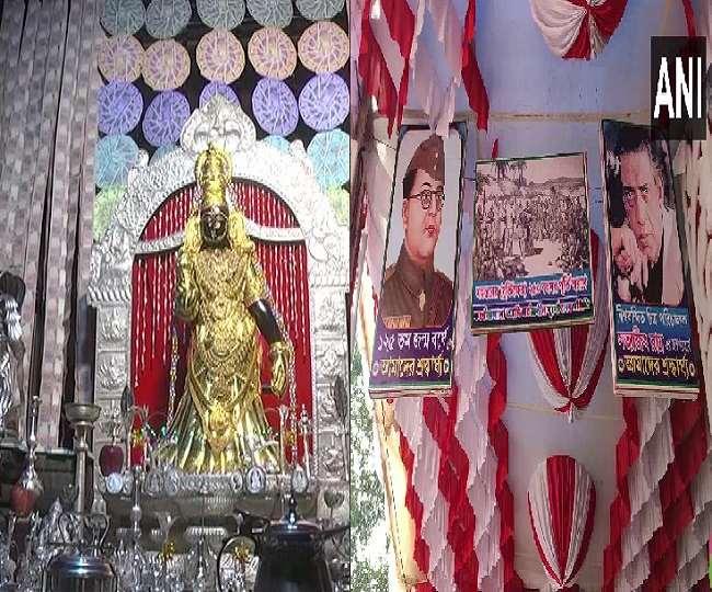 दुर्गा पूजा पर पंडालों की विशेष सजावट मोह रही भक्तों का मन