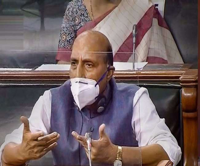 Defense Minister Rajnath Singh is making a statement in the Lok Sabha on the ongoing deadlock between India and China.