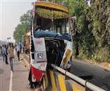 बाराबंकी : डिवाइडर पर चढ़ी तेज रफ्तार रोडवेज बस, दर्जन भर यात्री घायल
