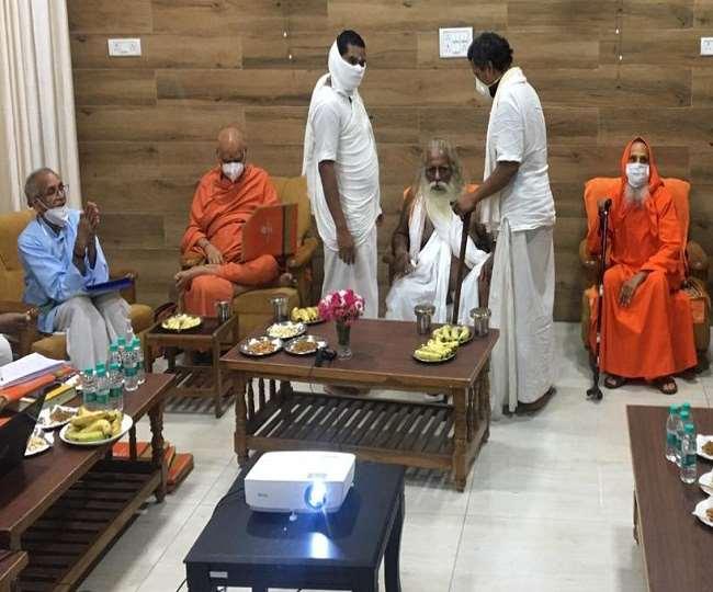 Shri Ram JanamBhoomi Teerth Kshetra Trust General Secretary Champat Rai Met  Chairman Mahant Nritya Gopal Das
