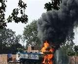 भारत पेट्रोलियम के टैंकर में भभकी आग, चालक और खलासी गंभीर Dhanbad News