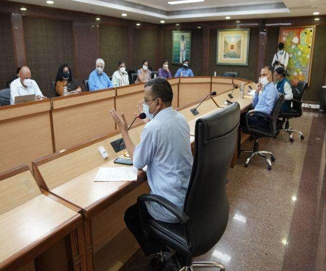 कोरोना की संभावित तीसरी लहर को लेकर दिल्ली सरकार की हाई लेवल मीटिंग।