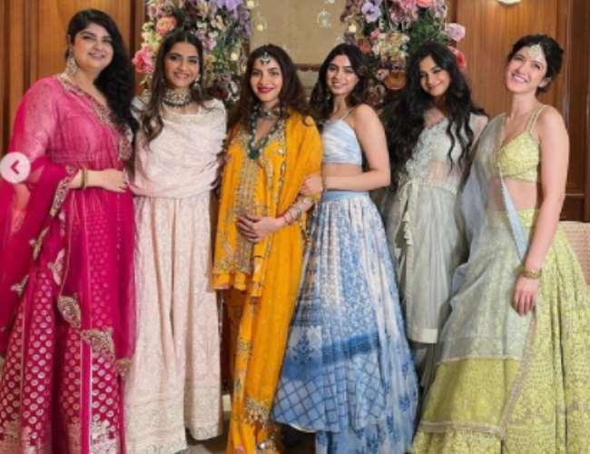 Sonam Kapoor with sisters at Antara godbharai. Photo- Instagram