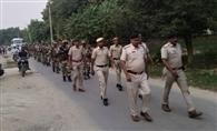 जवानों ने आदमपुर और हिसार विधानसभा क्षेत्र में निकाला फ्लैग मार्च
