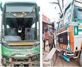 ट्रैफिक लाइट चौक पर ट्रक से टकराई HRTC की वोल्वो बस, बाल-बाल बचे 26 यात्री Chandigarh News
