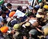 विधानसभा घेरने जा रहे किसानों को रोकने के लिए पुलिस ने छोड़ा पानी, कई हिरासत में