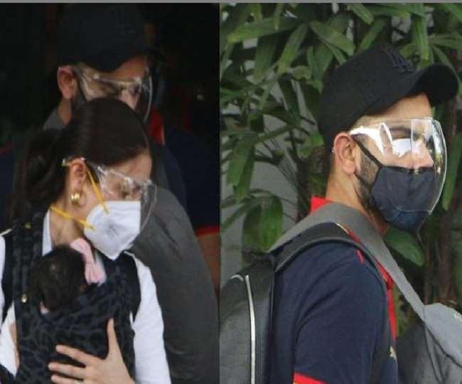 In Pics Anushka Sharma Virat Kohli along with daughter Vamika return to Mumbai after matches