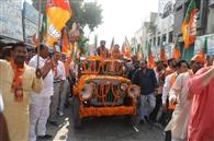 डा. कमल गुप्ता के समर्थन में शहर के बाजारों में निकाली पदयात्रा