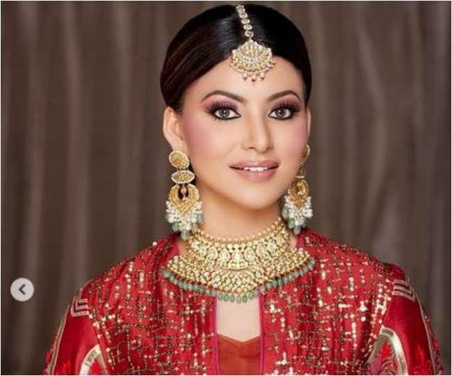 IN PICS Urvashi Rautela Desi Avatar Photos Viral On Social Media She Looks Gorgeous In Red Dress