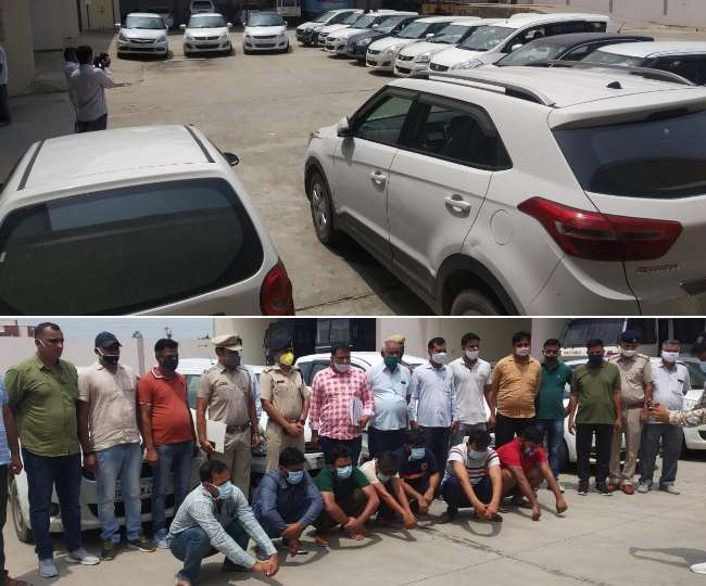 कैथल में कार चोर गिरोह से बरामद की गाड़ियां और चोरी के आरोपित।