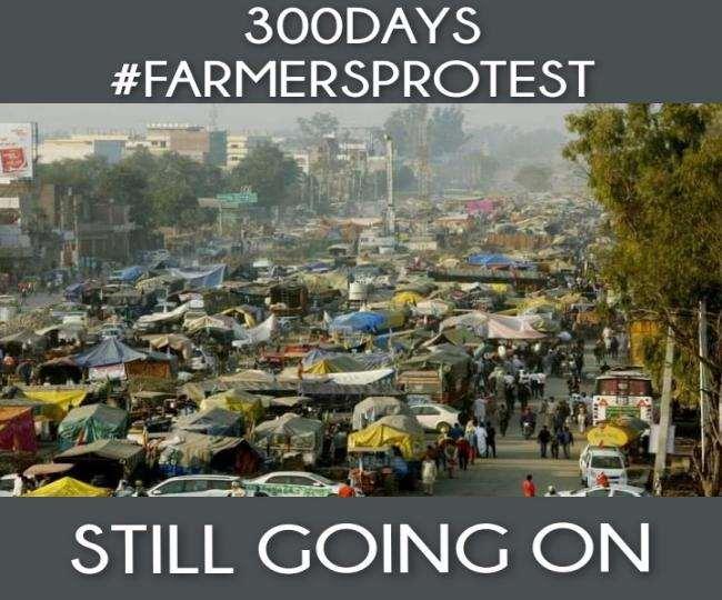 दिल्ली की तीनों सीमाओं पर 300 दिनों से किसानों का प्रदर्शन जारी है।