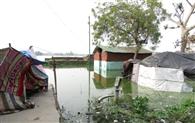 नाले के पानी से उफना सागर ताल, घरों में घुसा पानी