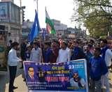 भीम आर्मी ने भारत बंद के तहत निकाली रैली, किया प्रदर्शन