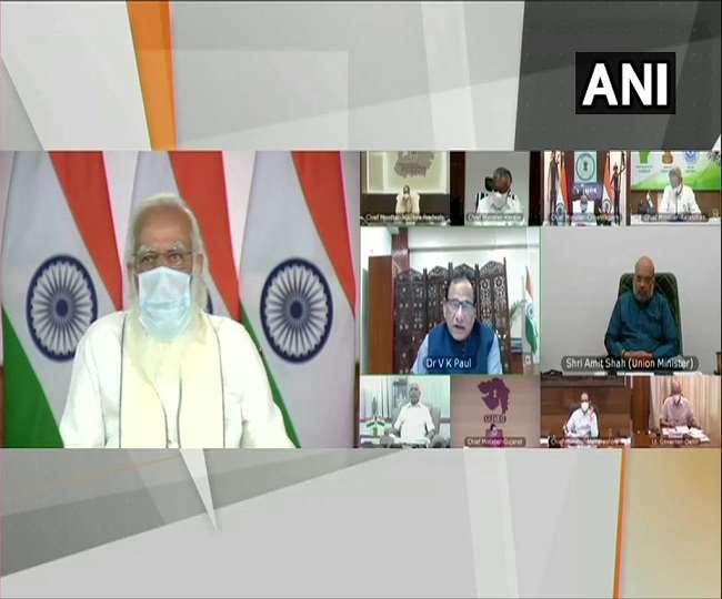 मुख्यमंत्रियों के साथ प्रधानमंत्री मोदी की बैठक, लिया हालात का जायजा