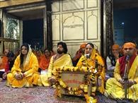 श्री लक्ष्मी नारायण मंदिर में किया ठाकुर जी का गुणगान