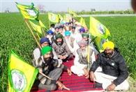किसानों ने धरना लगाकर रुकवाई जमीन की कुर्की