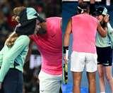 राफेल नडाल ने बॉल गर्ल को किया किस, मैच के दौरान लगी थी झन्नाटेदार गेंद