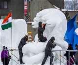 यहां भारत के शेषनाग से मुकाबले को तैयार हुई हैं कई देशों की बर्फ से बनी कलाकृतियां
