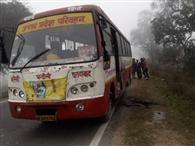 रोडवेज बस में लगी आग, कूदकर भागे यात्री