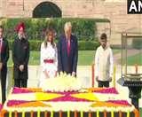 ट्रंप और मेलानिया ने राजघाट पर महात्मा गांधी को श्रद्धांजलि देने के बाद किया वृझारोपण, देखें तस्वीरें
