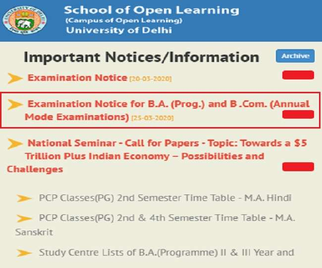 DU SOL Datesheet 2020: BA and BCom annual examinations postponed, school of open learning issued notification