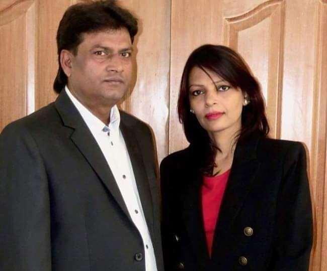 राजद की प्रदेश महासचिव मधु मंजरी अपने पति के साथ। युवा राजद के ट्वटिर अकाउंट से साभार