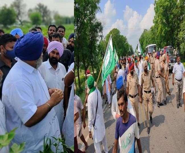 सुखबीर बादल के गांव सेखू के दौरे से पहले जमा हुए किसानों को रोकने का प्रयास करती पुलिस। (जागरण)