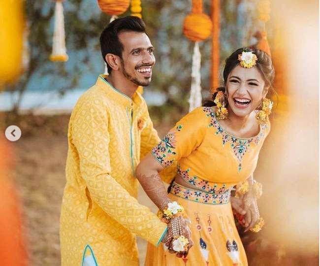 IN PICS Yuzvendra Chahal And Dhanashree Verma Haldi Ceremony Photos Viral On Social Media After Wedding
